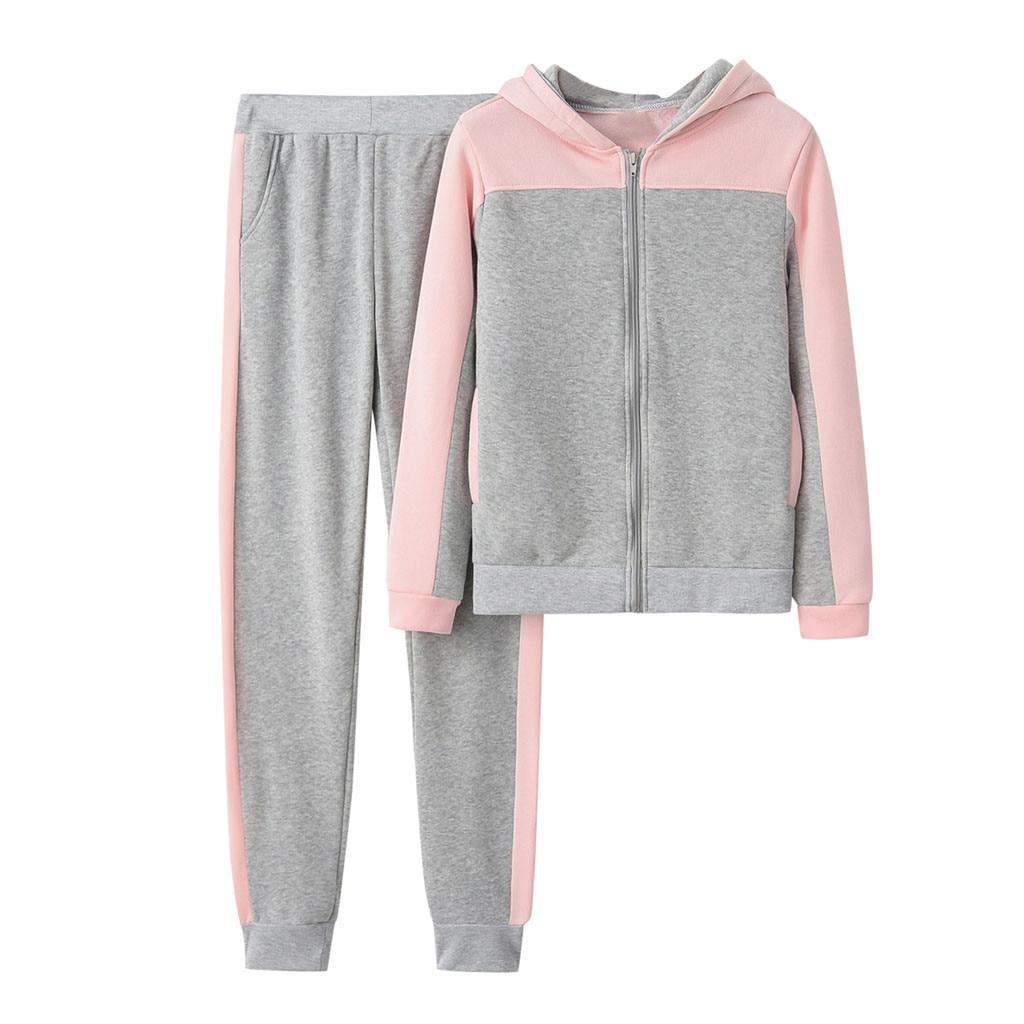 US $10.08 33% OFF|Damskie sportowe garnitury dres dwuczęściowy zestaw odzież sportowa kobiet jednolity kolor z kapturem bluza i spodnie dres sportowy