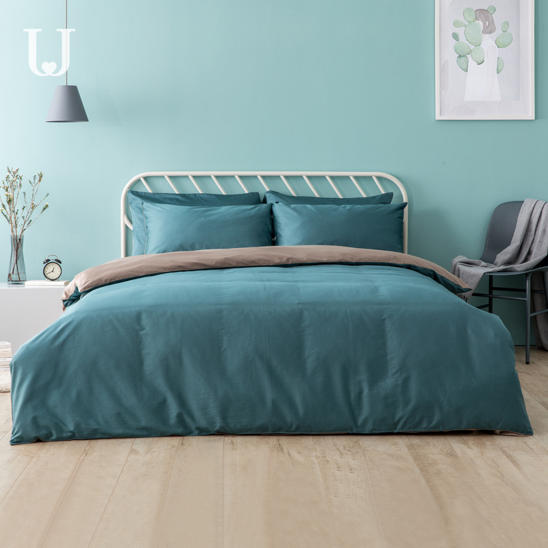 Jordanjudy Satin 100% Cotton 4-piece Set 100% Cotton Bedding 2 M Quilt Cover Sheet Double French
