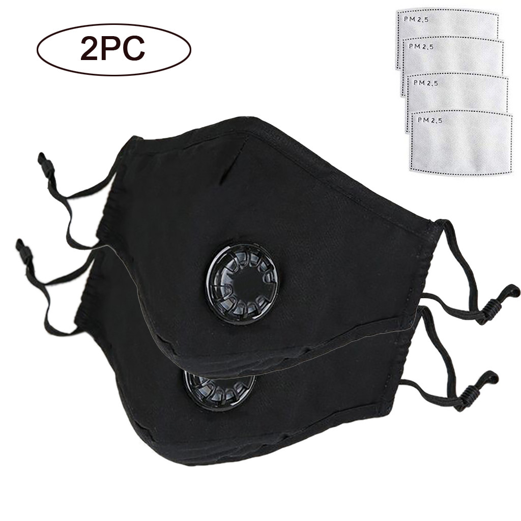 2Pc Reusable Anti-pollution Anti-Dust Mask PM2.5 Filter Mouth Respirator Dust Face Masks Cotton Unisex Mouth Masks Washable