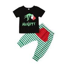 Летняя Рождественская одежда для маленьких мальчиков на Хэллоуин из 2 предметов футболка штаны в полоску Рождественский комплект с героями мультфильмов