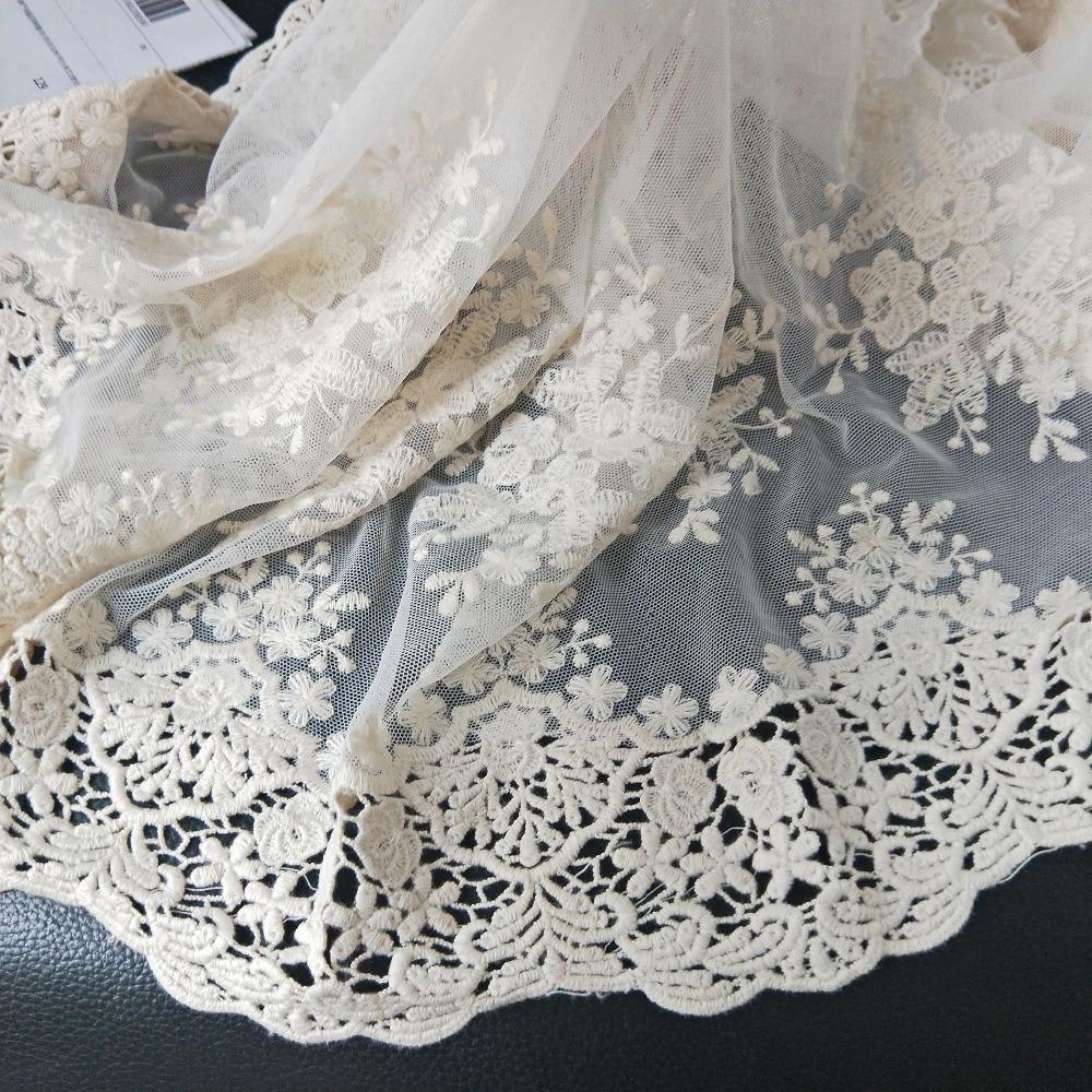 Новинка, бежевая Изысканная сетчатая вышитая головокружевная ткань с вырезами, ткань ручной работы «сделай сам» для шитья одежды, кружевна...