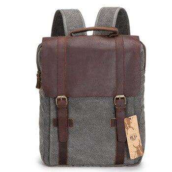2019New Fashion Male Backpack Leather military Canvas backpack Men backpack women school backpack school bag bagpack rucksack