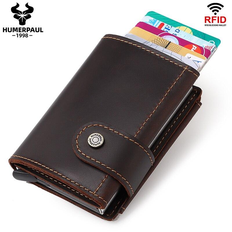 Минималистичный алюминиевый держатель для кредитных карт кошелек для мужчин RFID винтажный Crazy Horse кожаный держатель для банковской карты Че...