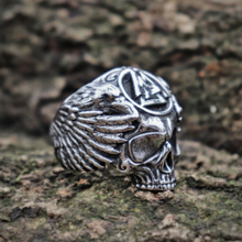 EYHIMD Viking Valknut Symbol Sukll Stainless Steel Ring Mens Silver Ravens Biker Rings Norse Amulet Jewelry