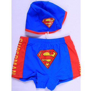 Xiqi New Style CHILDREN'S Swimming Trunks BOY'S Quick Drying Pants Swimming Cap Superman Cartoon Pattern Swimming Swimming Trunk