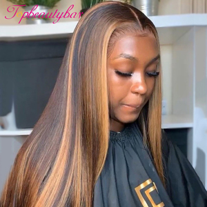 #4/30 Highlight Colored Human Hair Wigs Brazilian 13X6 Lace Front Human Hair Wigs Ombre Remy Lace Frontal Wig For Black Women