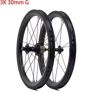 """Image 5 - Juego de ruedas de carbono para bicicleta, juego de ruedas de 5 6 7 velocidades 16x1 3/8 """"349, 14H/21H para Brompton 3sixty, ruedas de bicicleta plegables ultraligeras"""
