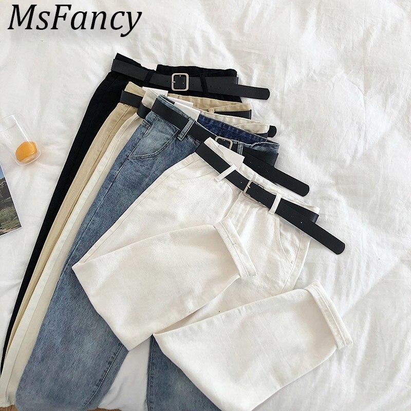 2020 Spring White Jeans Women High Waist Harem Trousers With Belt High Street Women Boyfriend Denim Trousers