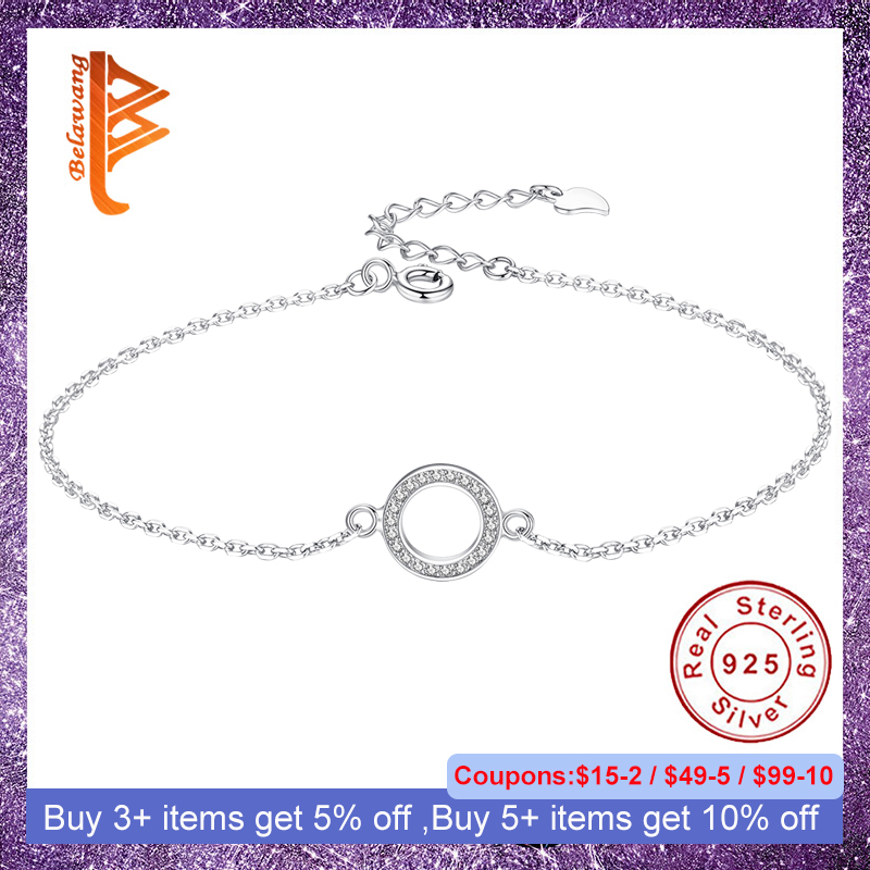 BELAWANG Genuine 925 Sterling Silver Bracelet For Women Cubic Zirconia Round Circle Charm Bracelets Chain Link Silver Jewelry