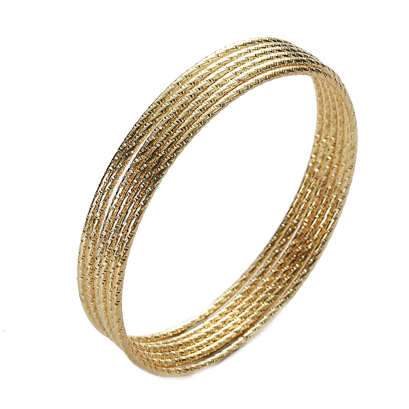 6PC/SET Trendy Gold Silver Plated Bangles Bracelets For Women 68mm Big Circle Metal Wire Indian Bangle Jewelry Party Gifts