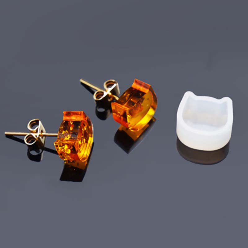 Silicone Resin Mold DIY Crystal Epoxy Handcraft For Stud Earrings Jewelry Making Cat Animal White 10mm x9mm( 3/8