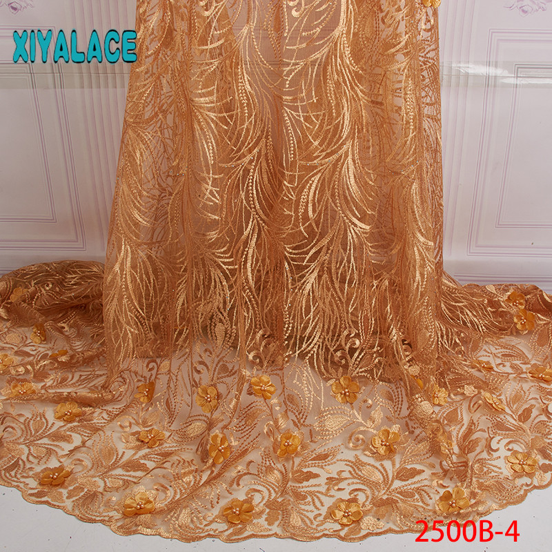 3D Laces 2019 High Quality, Beaded Nigerian Lace Fabric 2018, Embroidery French Tulle Lace With Stones For Bridal YA2500B-4