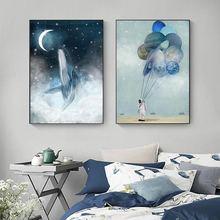 Абстрактный синий кит холст картины подвеска в виде космонавта