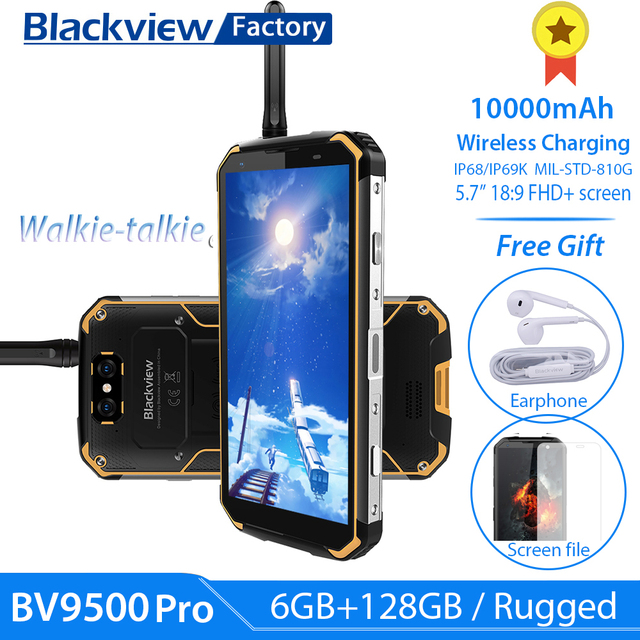 """BLACKVIEW BV9500 Pro IP69K Walkie Talkie 5.7""""18:9 FHD Smartphone Android 8.1 6+128GB 10000mAh wireless charging mobile phone NFC"""