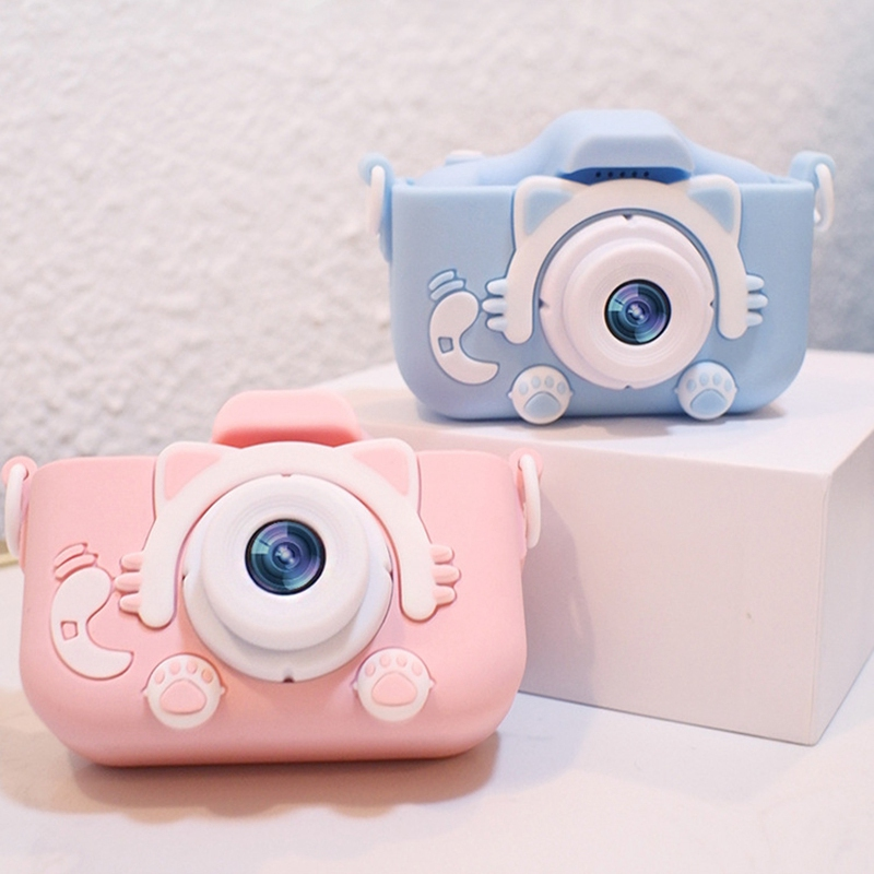 FBIL-Cat Pattern USB Charging Front And Rear Dual 2000W HD Children Camera Mini Cartoon Toy Photo Camera Video Baby Digital Came