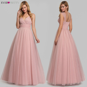 Image 3 - Cute Pink Bridesmaid Dresses For Women Ever Pretty EP07905PK A Line V Neck Tulle Sparkle Wedding Guest Dresses Sukienki Weselne