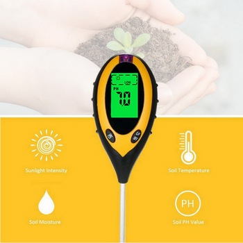 цена на 4 in 1 Soil Ph Meter Soil Tester PH Moisture Meter Temperature Sunlight Intensity Measurement Analysis Acidity Alkali