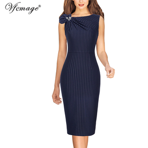 Image 3 - Vfemage Womens Colorblock Floral Solid Pleated Bow Asymmetric Neck Slim Work Office Business Cocktail Party Sheath Dress 18333