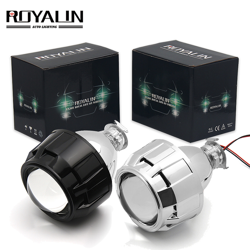 ROYALIN 2.5 Inch Mini Bi Xenon HID Projector Headlight Lenses Retrofit Fit H4 H7 Car Head Lamp W/ Gating Gun Shrouds