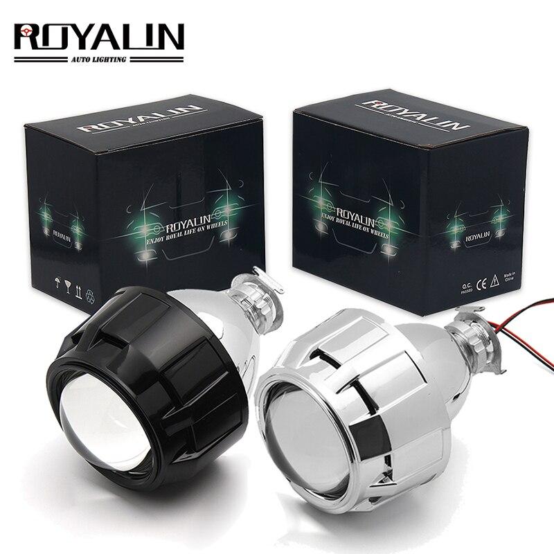 ROYALIN 2,5 pulgadas Mini Bi Xenon HID proyector lentes de faro Retrofit Fit H4 H7 lámpara de cabeza del coche W/pistola ginging Shrouds