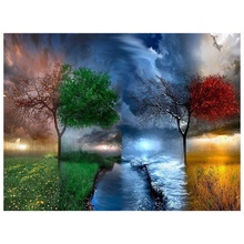 5D DIY Full Round Drill Diamond Painting Cross Stitch Four Seasons Scenery Embroidery Mosaic Decor