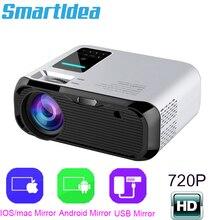 Smartldea novo 720 p hd projetor wi fi, nativo 1280*720 p, projetor espelho, mini led vídeo proyector casa vídeo beamer sync display