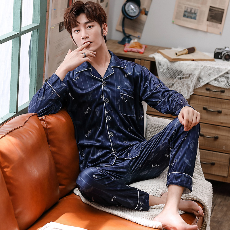 Thick Warm Gold Velvet Pajama Sets For Men 2019 Winter Long Sleeve Cardigan Sleepwear Suit Male Homewear Loungewear Home Clothes