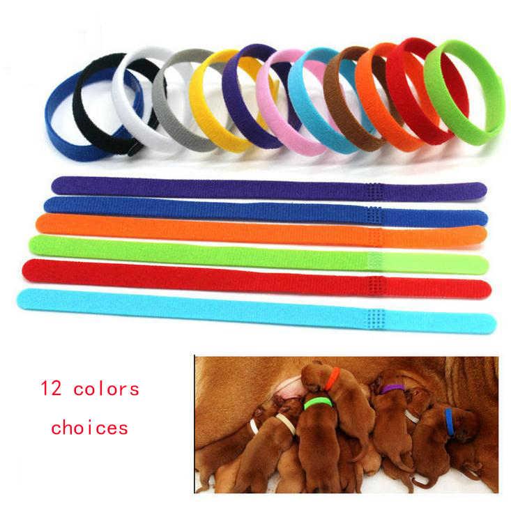 12 ピース/セット識別調節可能なナイロン小型ペット犬の首輪子犬新生児ペット首輪子猫ネックレス Whelping 子犬の首輪