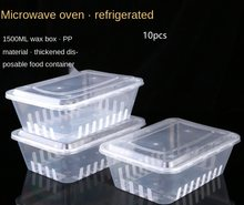 Whole sale disposable fast food box 10 pieces 1500ml square box plastic packed lunch box lunch box fresh fruit takeaway box