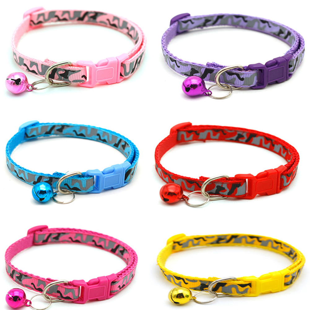 2019 Cat Dog Collar With Bell Camo Camouflage Printed Neck Strap Polyester Adjustable Puppy Animal Dog Leash Safety Dog Supplies
