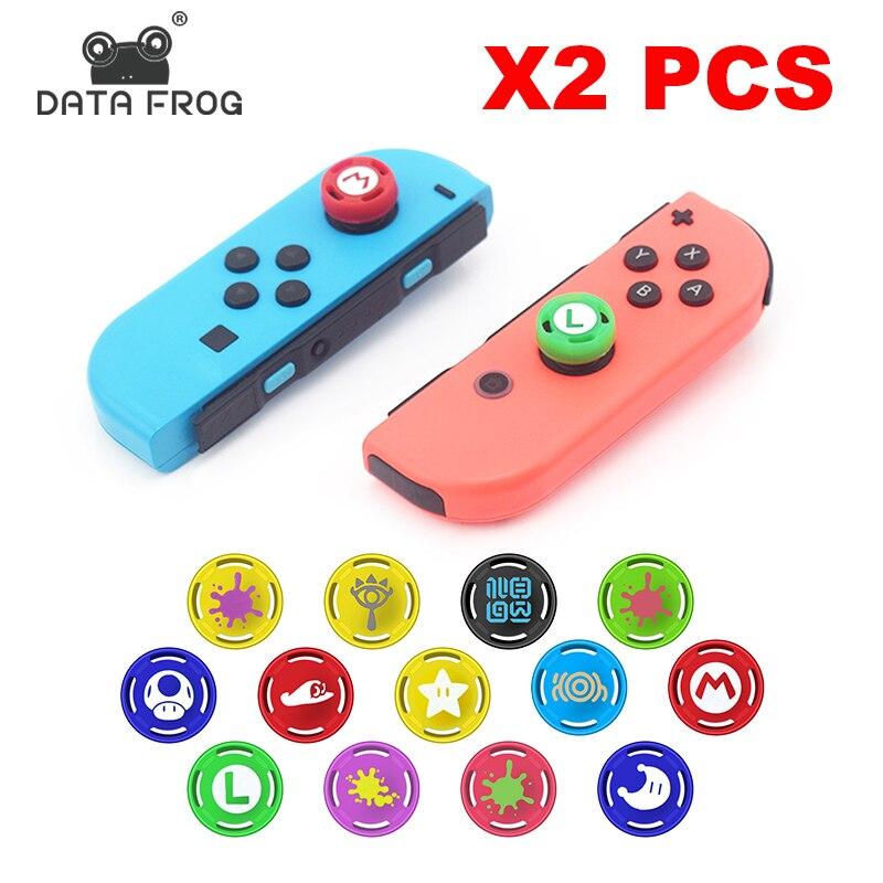 DATA FROG 2 uds tapa de agarre para Joy Con Gamepad de silicona tapas analógicas para Nintendo Switch NS accesorio controlador JoyCon