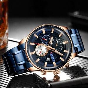 Image 5 - CURREN montre bracelet de sport pour hommes, avec chronographe, horloge de main lumineuse, bracelet en acier inoxydable bleu, tendance