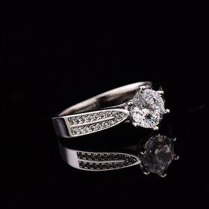Image 3 - Geoki geçti elmas Test Moissanite 925 ayar gümüş yıldız Starlight kraliçe yüzük yuvarlak mükemmel kesim düğün taş yüzük kadınlar için