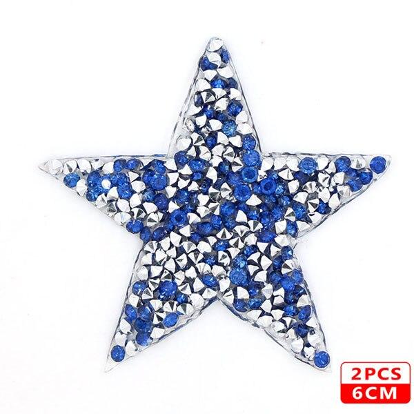 Стразы со звездами, смешанные размеры, нашивки, нашивки с вышивкой, термо-Стикеры для одежды, 5 видов цветов, блестки, нашивки для одежды, сделай сам - Цвет: 6cm Blue 2pcs
