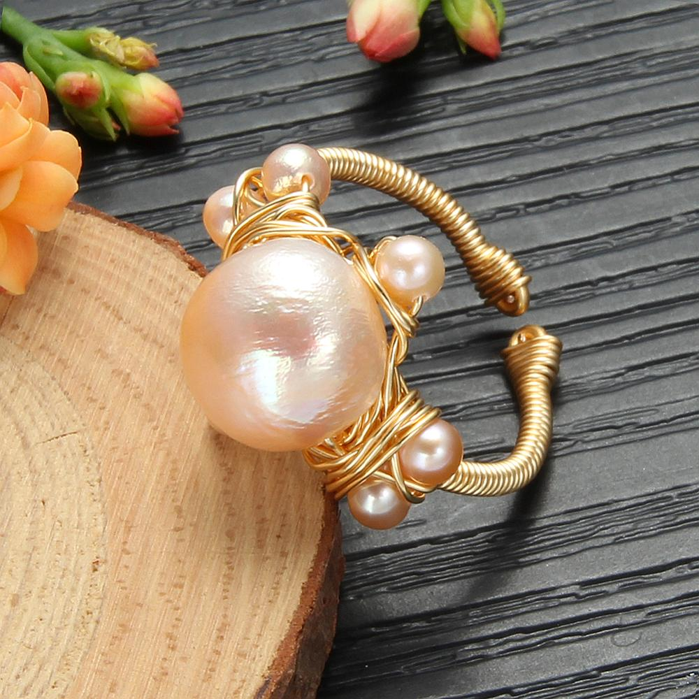 Handmade Original Design Pearl Rings Natural Baroque Fresh Water Pearl Ring For Women Wedding Gift Pearls Rings Fine Jewelry
