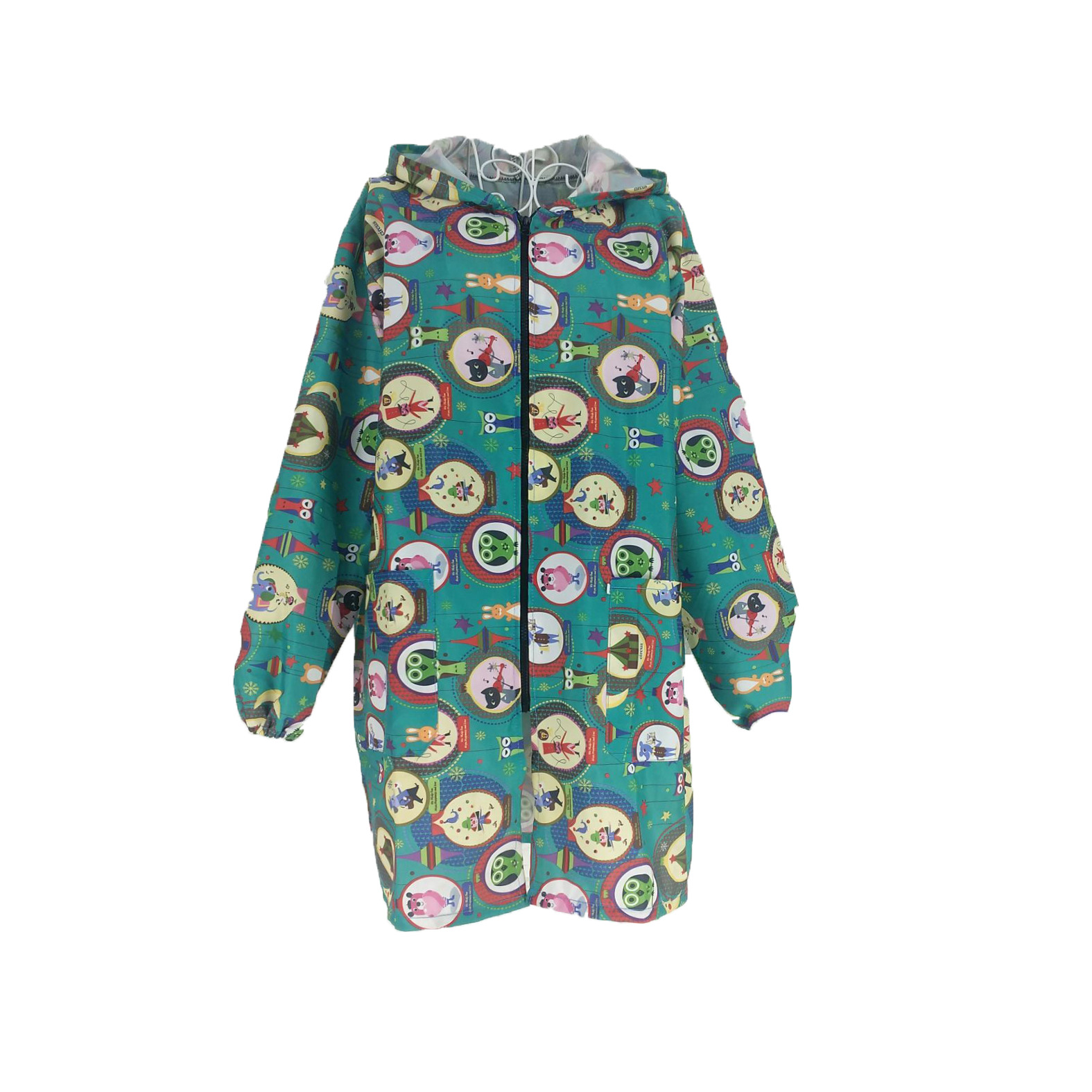 Cartoon Zipper Overclothes Adult Long Sleeve Apron Men And Women Dustproof Antifouling Work Clothes Household Painted Down Jacke