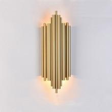 Золотистые хромированные светодиодные Настенные светильники, металлический корпус трубы для гостиной, спальни, прикроватное крепление, украшение для дома, бра в стиле лофт