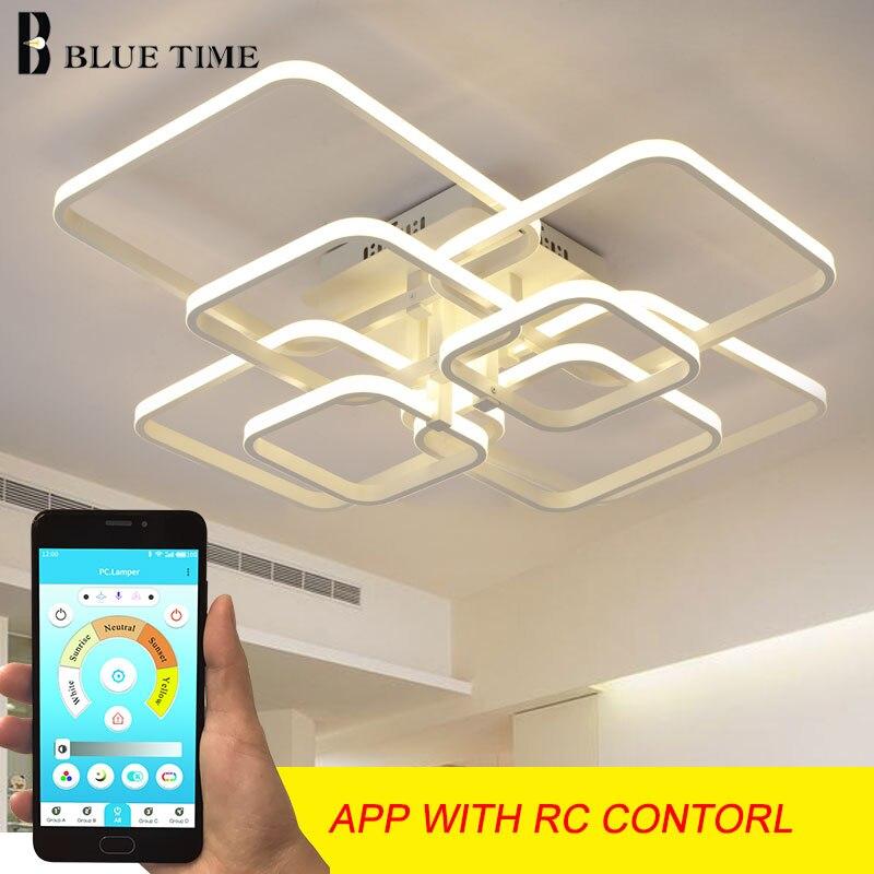 Modern LED Chandelier Lighting For Living Room Bedroom Dining Room Study Room White Black Coffee LED Chandelier Lamp AC 110-220V