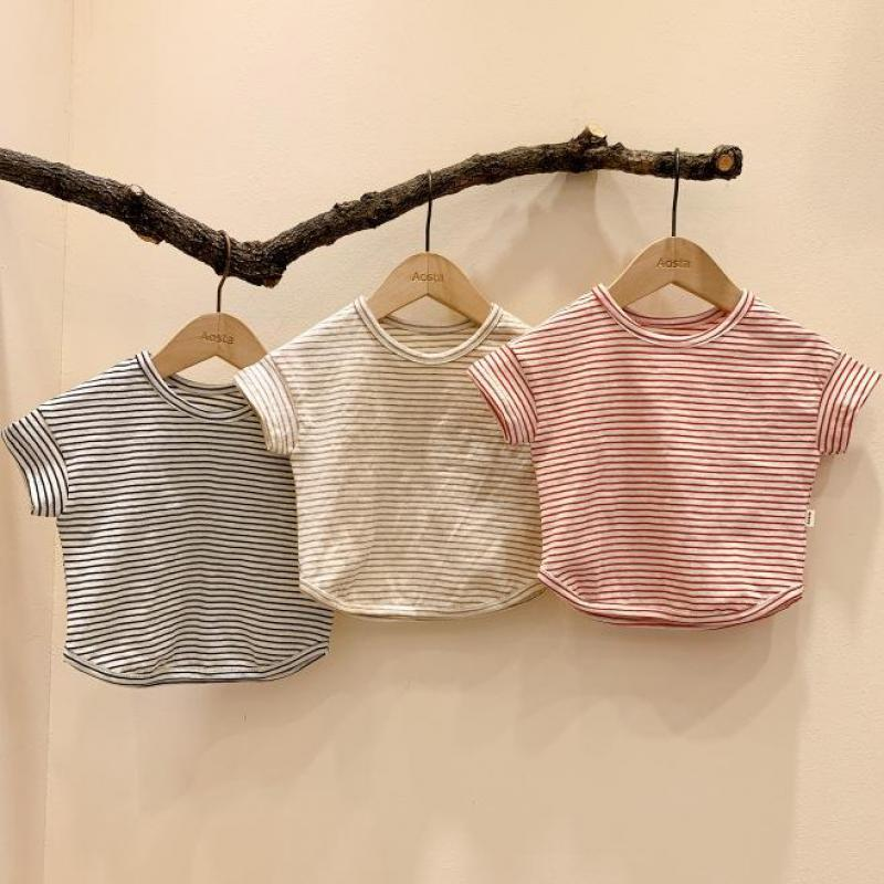 Summer Casual Baby Girls Boys T Shirt Cotton Girl Tops Boy Short Sleeve T Shirt Kids Striped Tee Clothing Baby Clothes 0-24M
