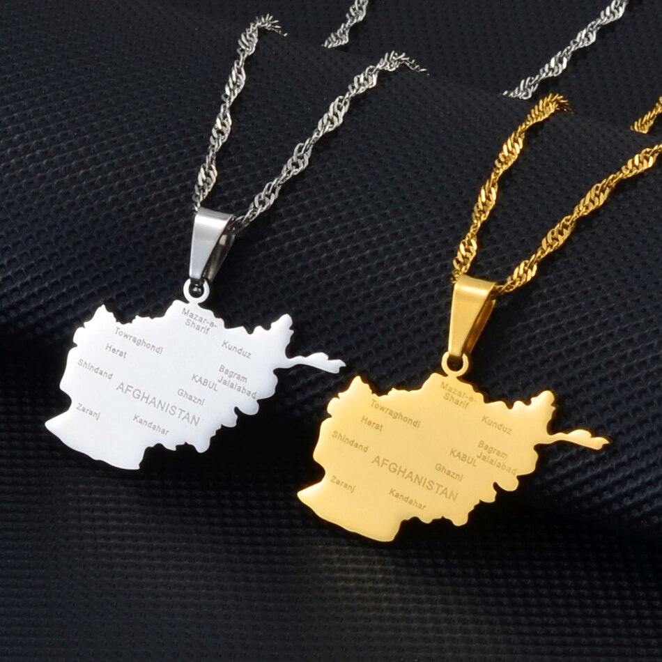 Ожерелье Anniyo с подвеской в виде карты Афганистана с названием города для женщин, Золотой/Серебряный цвет, афганские карты, украшения #175821