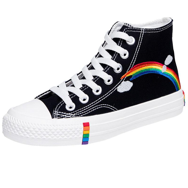 Women's Fashion 2020 Vulcanized Shoes Woman Sneakers New Rainbow Retro Canvas Shoes Flat Fashion Comfortable High Shoes Women 6
