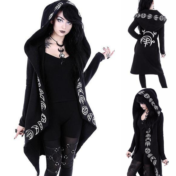 Women Gothic Hooded Sweatshirt Winter Cool Moon Plain Print Black Women Hoodies Long Coat Chic Irregular Punk Female Outwears