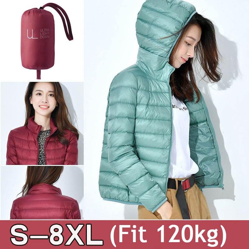 S-8XL 2020 Winter Jackets Women White Duck Down Jacket Female Padded Hooded Parkas Coat Ultra Light Portable Down Coats Casacos 1