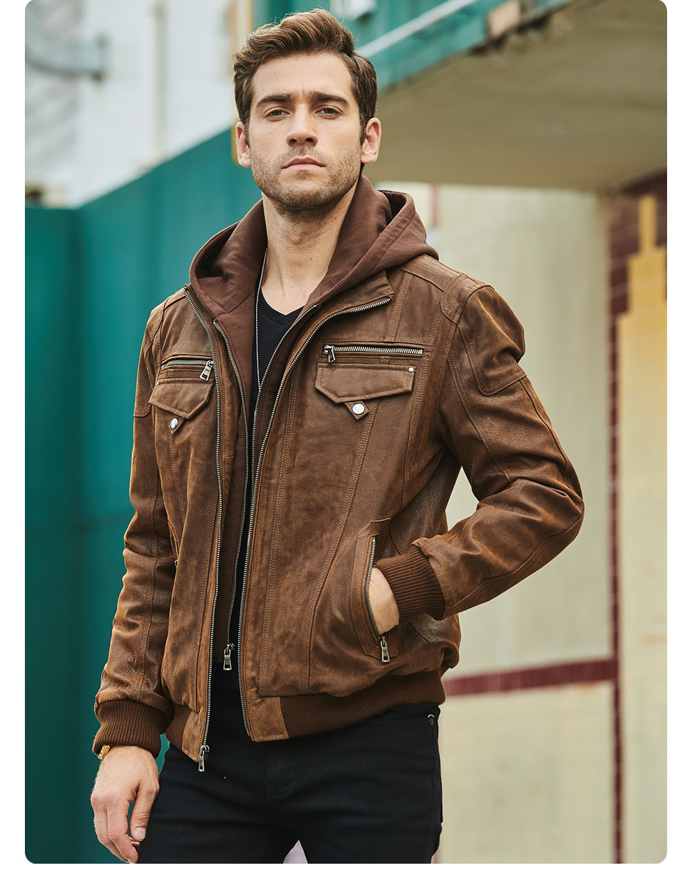 H3f32ba73be9343a9a164c75988e8ad8dv FLAVOR New Men's Real Leather Jacket with Removable Hood Brown Jacket Genuine Leather Warm Coat For Men