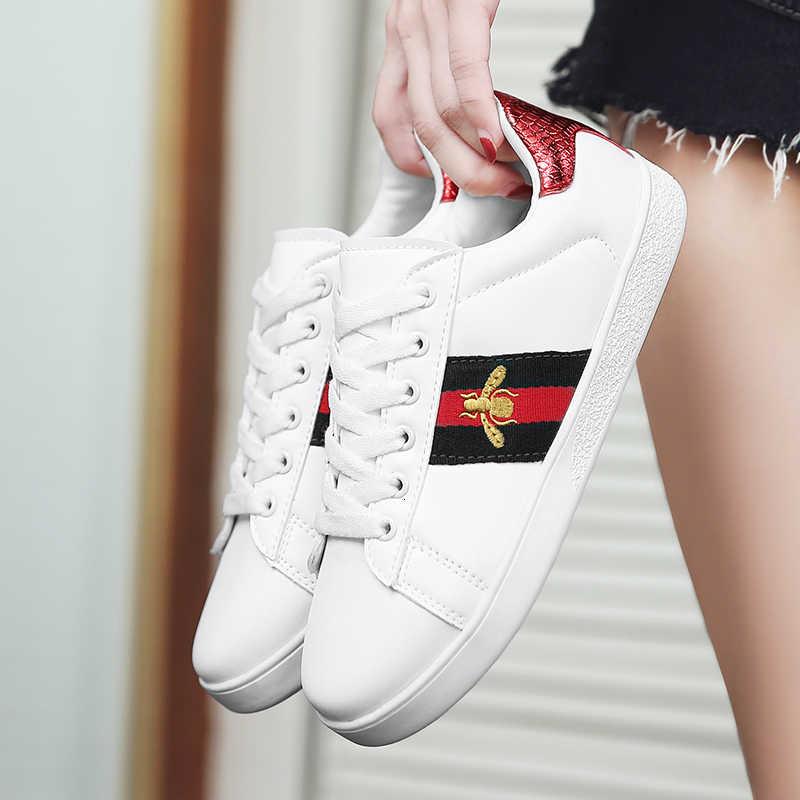 2019 sonbahar moda kız rahat ayakkabılar kız Sneakers marka ayakkabı tüm maç arı işlemeli nefes düz deri ayakkabı