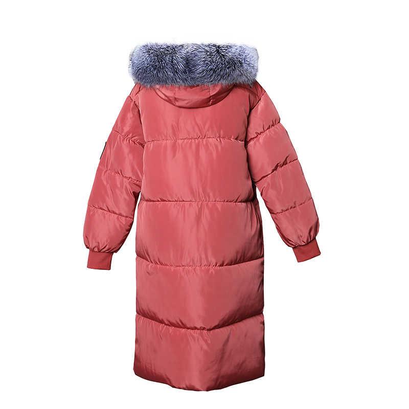 2019 Nieuwe bontkraag Winter vrouwen Jas Verdikking Parka Vrouwelijke Warme Winterjas Hooded Vrouwen Losse Bovenkleding Plus size 7XL