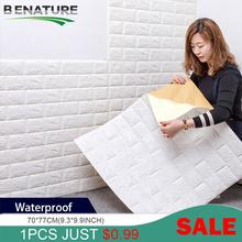 BENATURE 3D naklejki ścienne imitujące cegły żywe wodoodporne pianki pokój sypialnia DIY samoprzylepne tapety artystyczny dom naklejki ścienne tanie tanio CN (pochodzenie) Nowoczesne Do płytek Naklejki na meble naklejki okienne Na ścianę Jednoczęściowy pakiet WALL 3D Sticker
