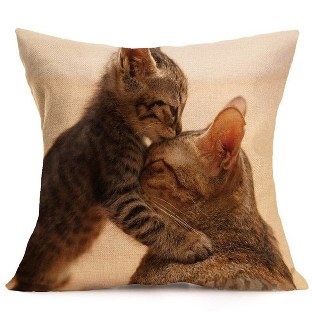 Mignon chat housse de coussin motif Animal lin oreiller salon canapé oreiller décoratif 45x45cm Art housse de coussin 30x50cm