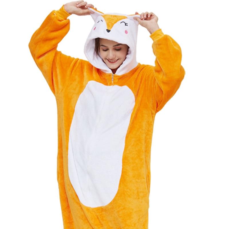 Kigurumis Animal Fox Women Pajama Suit Onesie Adult Sleepwear Homewear One Piece Unisex Flannel Soft Pijamas Funny