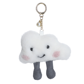Blue sky cute cloud lambswool pendant small cloud design bag pendant car pendant key ring small fire cloud figure car stickers multi color 10 pair pack